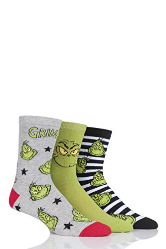 SockShop Mens and Womens Grinch Cotton Socks Pack of 3 Assorted 7-12 ()