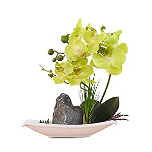 LOUHO Artificial Phaleanopsis Arrangement with Vase Decorative Orchid Flower Bonsai Rockery Series 59