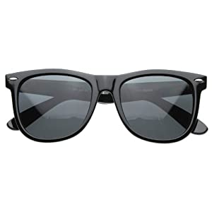 MLC Eyewear Vintage 80's Retro Classic Horn Rimmed Polarized Unisex Sunglasses - Charcoal Black