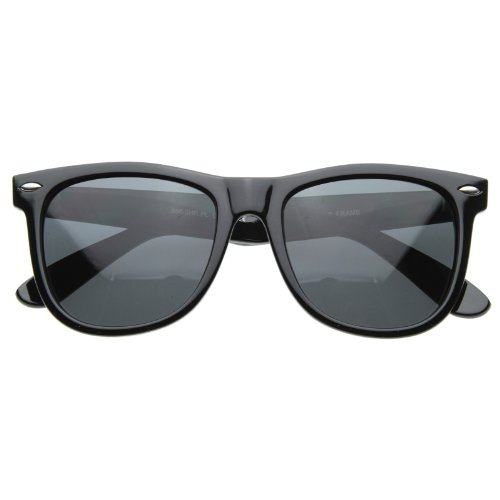 Polarized Vintage 80's Retro Classic Horn Rimmed Style Unisex Sunglasses - Charcoal Black ()