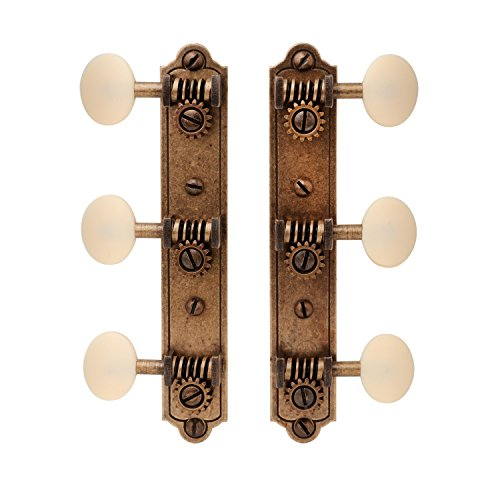Golden Age Restoration Tuners for Solid Peghead Guitar with Bell-end, Relic Brass with Matte Cream Knobs from Golden Age
