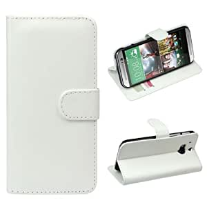 Aokdis Most Hot Colorful 1pc Luxury Retro Leather Wallet Flip Cover Case for HTC One 2 M8 (white)