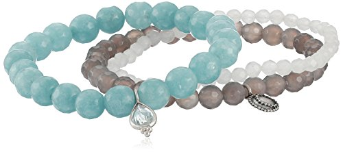 Satya Jewelry Sterling Silver Aquamarine, Angelite, and Agate Sacred Serenity Stretch Bracelet Set by Satya Jewelry