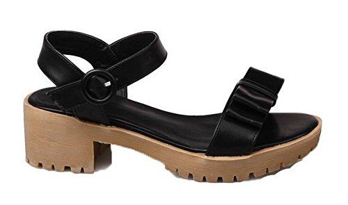Unie Talon d'orteil Boucle Sandales Couleur Correct Femme Noir à Ouverture AalarDom q8FwX8