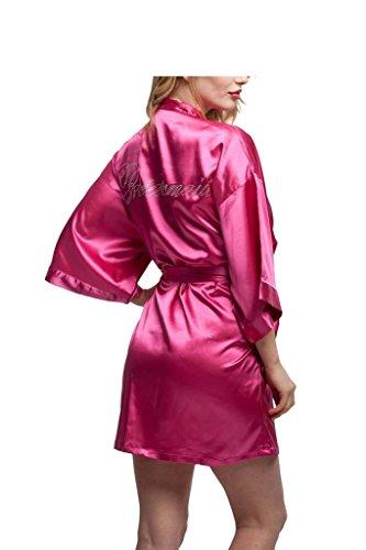 Prettycos batas de casa con escote de seda Ropa de dormir Albornoz dama de honor de la novia bridesmaid rojo