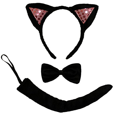 Cute Black Cat Halloween Costumes - SeasonsTrading Pink Sequin Black Cat Ears, Tail & Bow Tie Costume Set