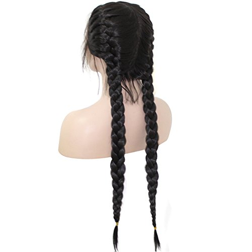 Anogol Hair CapLong Double Braids 2 Natural Black Synthetic Braided Lace Front Wig With Baby Hair Wigs Heat Resistant Fiber Middle Part