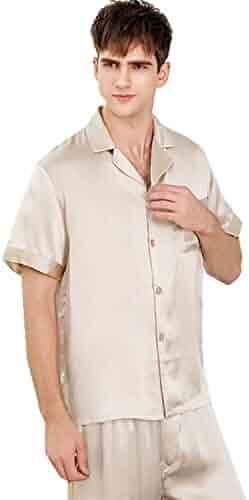 c04e39f005 ABICO Men s Silk Pajama Set Nightclothes Sleepwear 100% Mulberry Silk  Luxury 22 Momme Short Sleeve