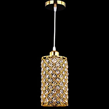 Winretro Modern Metal Crystal Chandelier Gold Plating Finish Lights Crystal Pendant Light Living Room Hanging Lighting Cylinder Lamp