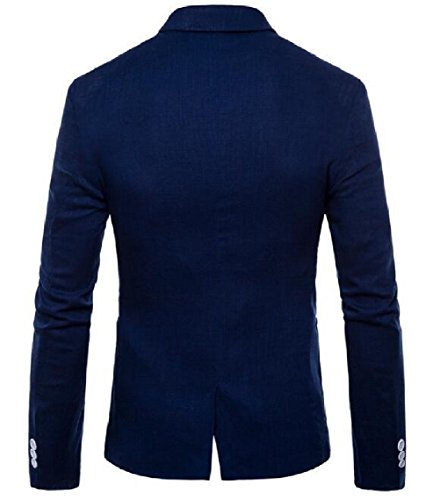 Blue Slim Business Button Coat Stylish Suit Fit Premium One Fashion Jacket Mens security Dark Blazers 6qwFRR