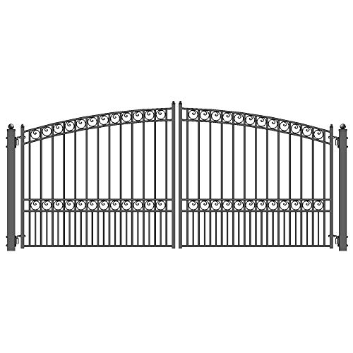 ALEKO DG18PARD Paris Style Dual Swing Galvanized Steel Driveway Security Gate 18 x 6 Feet Black ()