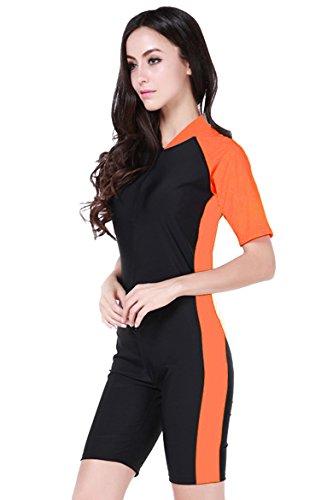 (Cokar Short Sleeve Swimwear Swimsuit for Women one Piece with Bra Orange Black-Women Asian XL = US L)