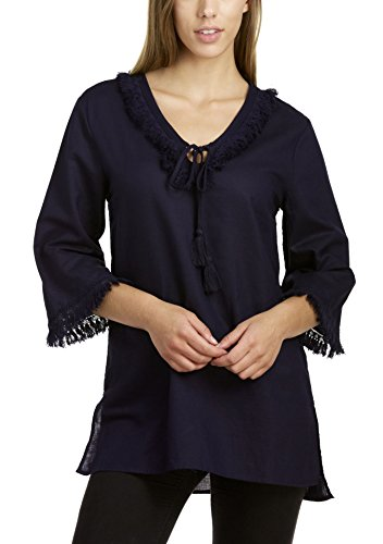 3/4 Sleeve V-Neck Tunic With Side Slits, Newport Navy, Small ()