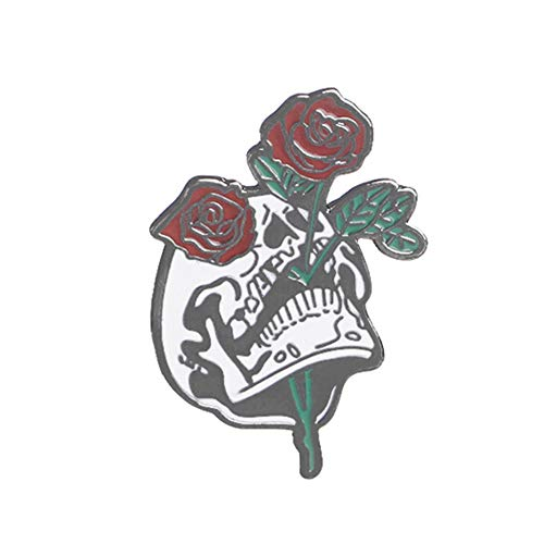 lightclub Cool Halloween Skull Rose Flower Unixes Lapel Button Pin Badge Brooch Jewelry Black ()