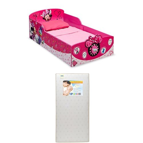 Delta Children Interactive Wood Toddler Bed, Disney Minnie Mouse  with Twinkle Stars Crib & Toddler Mattress by Delta Children