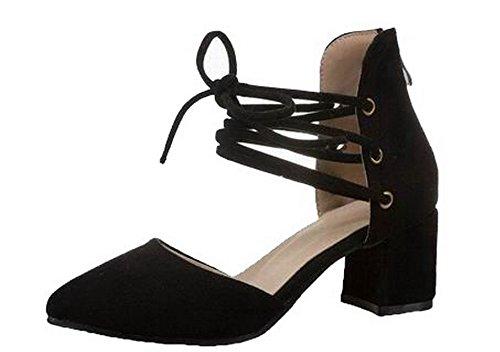 GMBLB014077 Correct Sandales Noir Couleur à Femme Talon Lacet Unie AgooLar twU8qAF