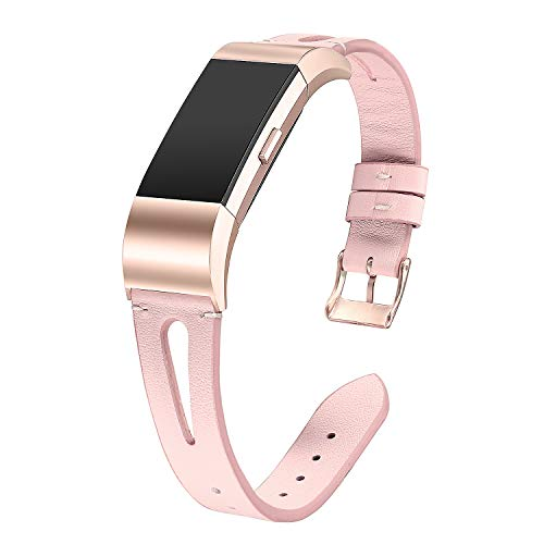 bayite Leather Bands Compatible Fitbit Charge 2, Replacement Genuine Wristband Straps Women, Pink with Rose Gold Connector Small