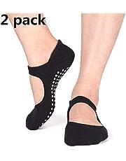 PUBAMALL Calcetines de Yoga para Mujeres, empuñaduras Antideslizantes y Correas, Ideales para Danza de Ballet Pilates Barre