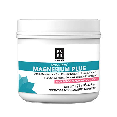 Pure Essence Labs Ionic Fizz Magnesium Plus - Calm Sleep Aid and Natural Anti Stress Supplement Powder - Raspberry Lemonade - 6.03oz