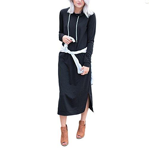 Womens Long Sleeve Long Hoodie Dress avec des Robes Maxi  Capuche de causalit de Poche Black