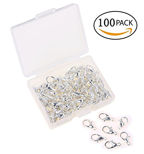 Shapenty Small Metal Alloy Lobster Claw Clasps Clip DIY Necklace Jewelry Finding Making Accessories Fastener Hook, 12mmx6mm, 100PCS (Silver) (Clip Claw Jewelry)