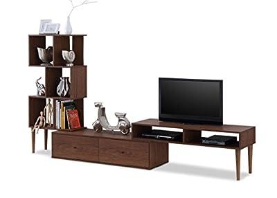 Baxton Furniture Studios Haversham Mid-Century Retro Modern TV Stand Entertainment Center and Display Unit