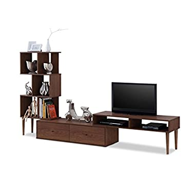 Baxton Furniture Studios Haversham Mid-Century Retro Modern TV Stand Entertainment Center and Display Unit