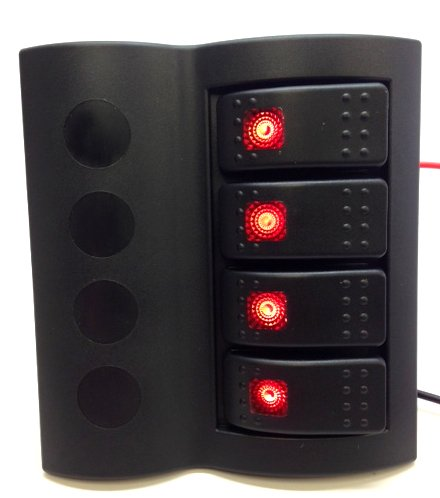 Pactrade Marine Boat Splash-Proof Switch Panel 4 Gang with LED Rocker Circuit - Panel Proof Switch