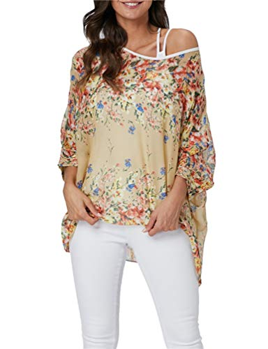 Nicetage Women Chiffon Blouse Floral Batwing Sleeve Beach Loose Tunic Shirt Tops HS166-4349 ()