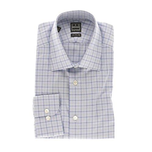 Ike Behar Mens Glen Plaid Front Pocket Button-Down Shirt Blue