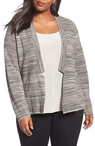 Eileen Fisher Womens Plus Lightweight Space Dye Cardigan Sweater Gray 2X