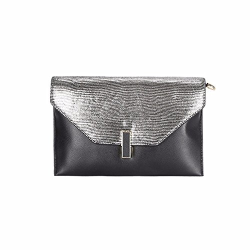 Reddish Black clutch leather fashion Messenger 2018 American black bag bag new With Silver and European STqUv