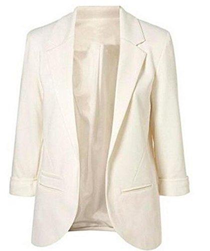 Faddish Women's Cotton Basic Boyfriend Ponte Rolled Blazer Jacket Suits White ()