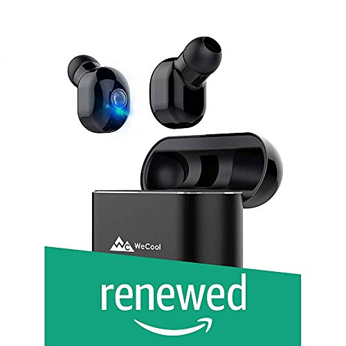 (Renewed) WeCool Moonwalk TWS True Wireless Earbuds Headphones with Mic with Portable Charging Box and Leather Carry Pouch (Black)
