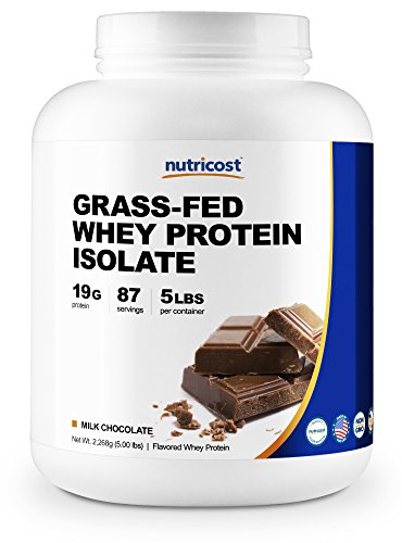 Nutricost Grass-Fed Whey Protein Isolate (Chocolate) 5LBS - Non-GMO, Gluten Free, Natural Flavors