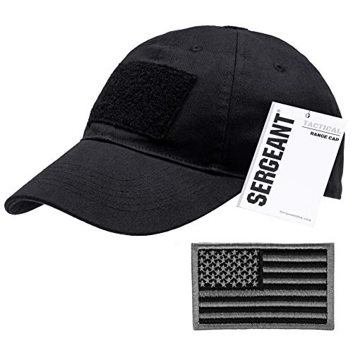 SERGEANT Military Tactical Baseball Cap in Black + USA Flag Patch. 100% Cotton, 3 Patches on Front, Top & Back, Adjustable Closure in Back. Use for Range, Operator, Hunting, Fishing.