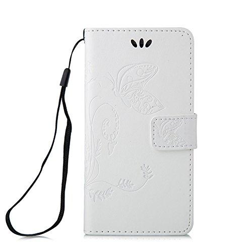 Voguecase® für Apple iPhone 5 5G 5S hülle, Kunstleder Tasche PU Schutzhülle Tasche Leder Brieftasche Hülle Case Cover (Schmetterlinge 2-Weiß) + Gratis Universal Eingabestift