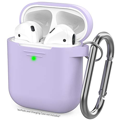 AhaStyle Upgrade AirPods Case Protective Cover [Front LED Visible] Silicone Compatible with Apple AirPods 2 & 1(Lavender)