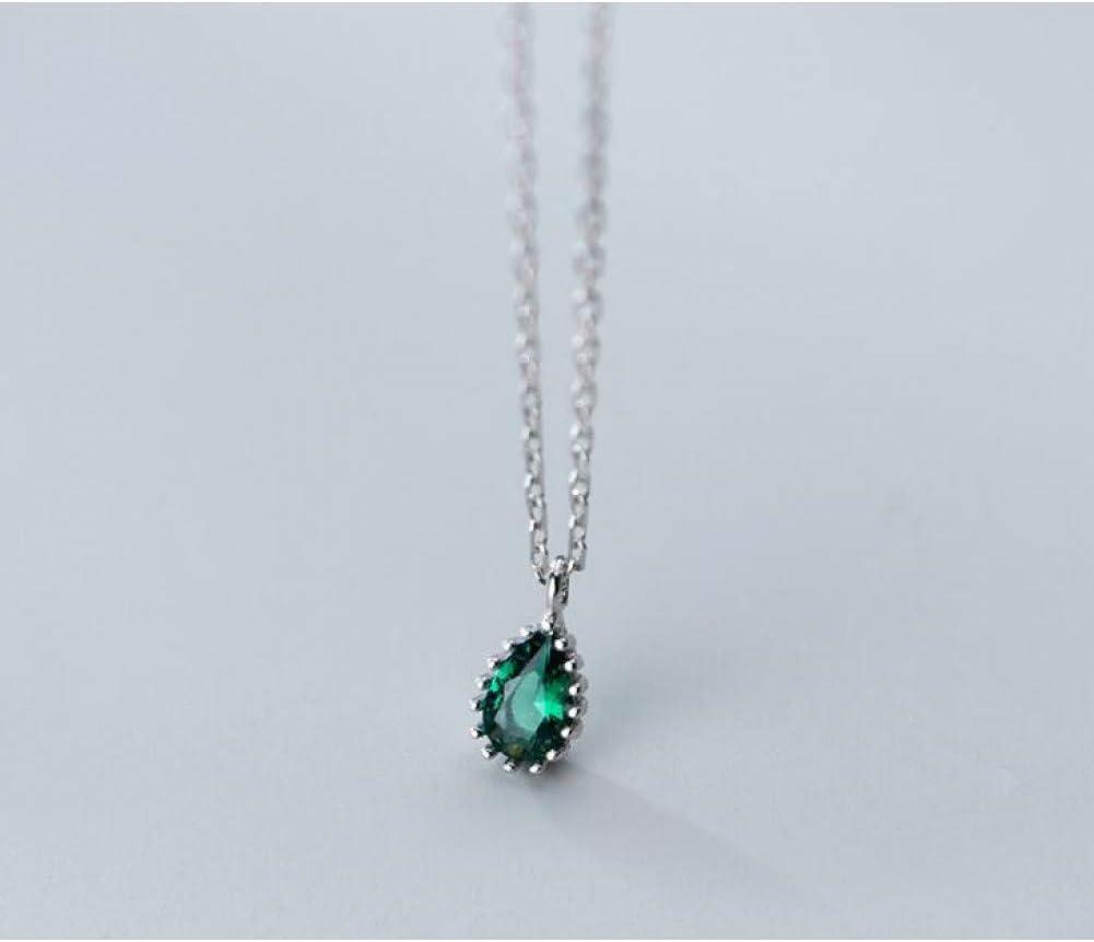 XLHJK Joyería Colgantes Collares Colgante For 5Mm * 10Mm Plata de Ley 925 Joyas Verde Esmeralda Lágrimas Waterdrop Colgante Collar