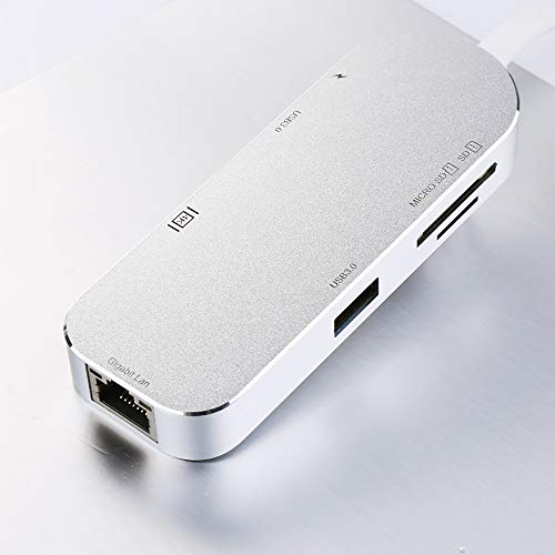 USB-C 3.1 hub 7 in 1 USB 3.0 Port RJ45 Ethernet Port PD Charging Port 4K HDMI SD/TF Ultra-Thin Aluminum Alloy,White - Network Scanner Expansion Kit