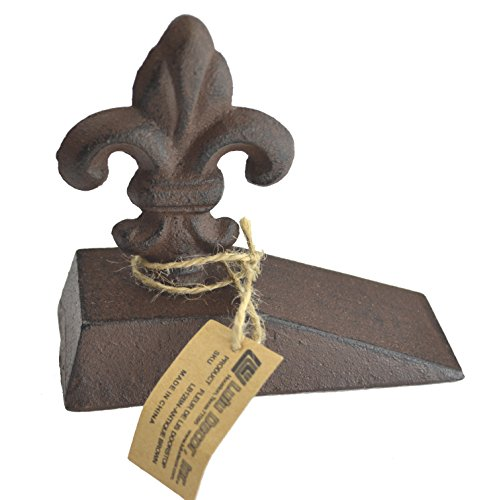 Lulu Decor, Cast Iron Fleur De Lis Door Stop, Door Stopper (Antique Brown) (Fleur Door Lis De)