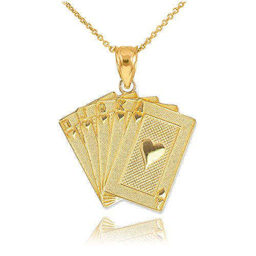 Men's Fine Jewelry Solid 14k Yellow Gold Royal Flush of Hearts Poker Pendant Necklace, 22