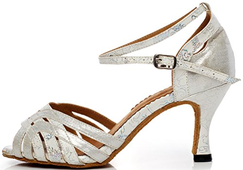 PU Dance Party EU Mid 38 Tango Peep 6221A AQQ Silvery Wedding Womens Shoes Toe Heel 6wUqz1vBgW
