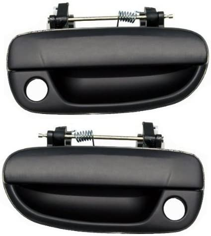 Black Front Outside Exterior Outer Door Handle Pair Set for 00-06 Hyundai Accent