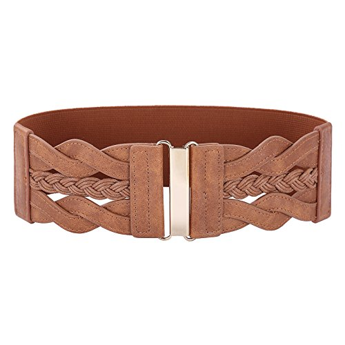 (Vintage Leather Elastic Waist Belt Fashion Wide Belts for Women (Brown, L))