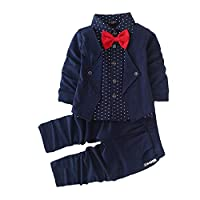 Hopscotch Boys Cotton Blazer Style Shirt and Pant Set in Navy Colour