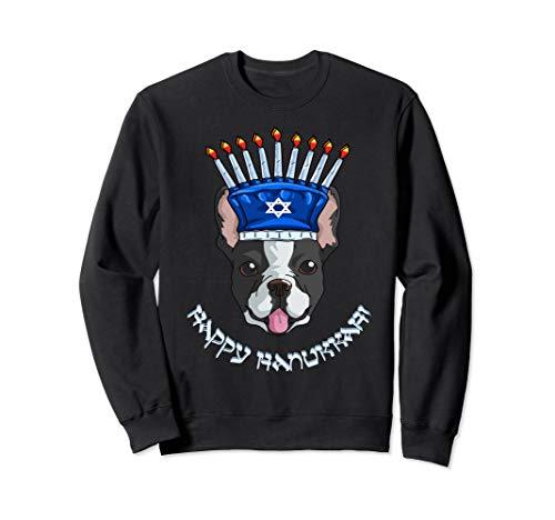 (Boston Terrier Menorah Hat Sweatshirt Hanukkah Chanukah Gift)