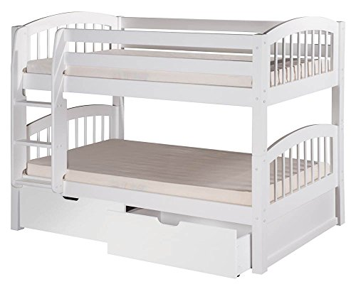 Camaflexi Arch Spindle Style Solid Wood Low Bunk Bed with Drawers, Twin-Over-Twin, Side Attached Ladder, White