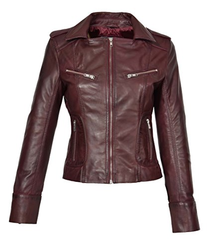 A1 FASHION GOODS Womens Wine RED Leather Biker Jacket Italian Designer Slim Fit Zip Up Coat Betty (Small)