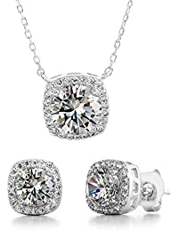 Stud Halo Cushion Shaped Earrings for Women and 18 Inch Necklace for Women Jewelry Set Made with Swarovski Crystals